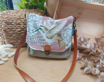 Canvas bag with hummingbird bird, women's bag with leather shoulder strap, postman's bag