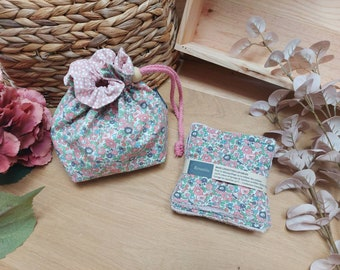 Pouch and wipes, pink fabric with liberty flowers, storage cotton bathrooms, fabric pouch
