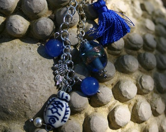Teacher gift Keyring fish ceramic and Lampwork bead, gift idea