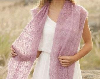 Echarpe femme tricotée main, écharpe violette, écharpe en laine et coton,  écharpe ajourée violette, écharpe printemps, ... 2e857f54a85