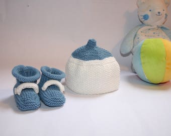 Cap and slippers set, Premature size, handmade knit, Beanie and slippers for premature babies
