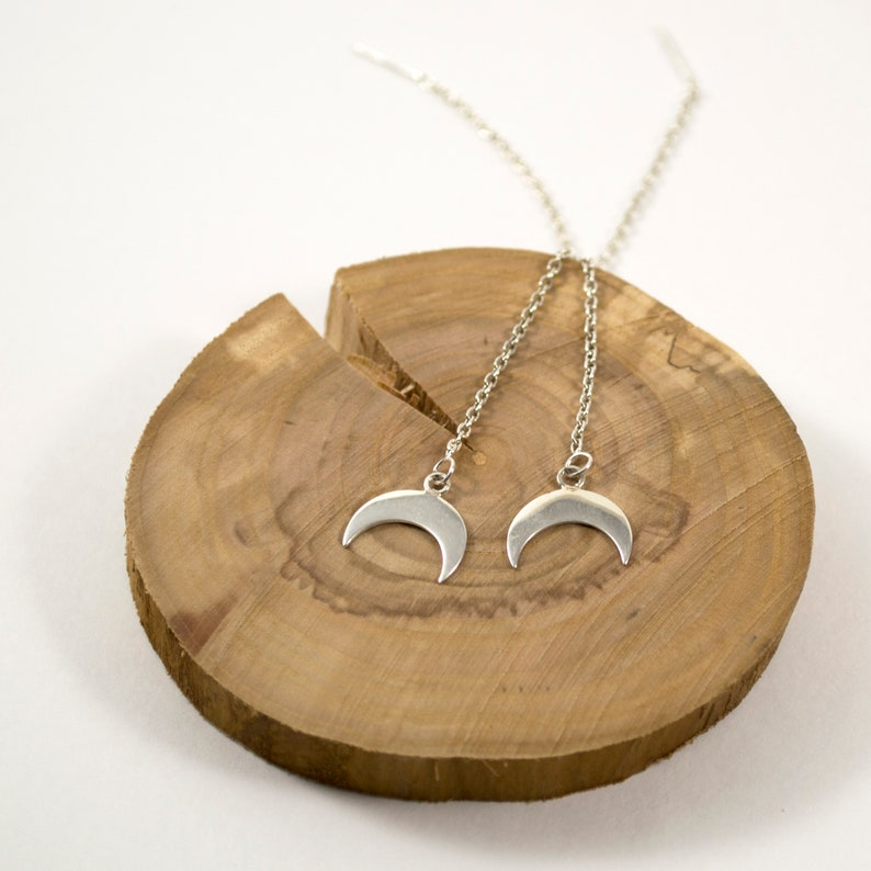 Valentine/'s gift for her Sterling silver crescent moon threader earrings