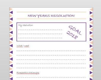 New Years resolution template