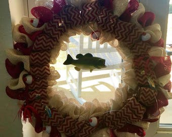 Large mouth bass welcome wreath