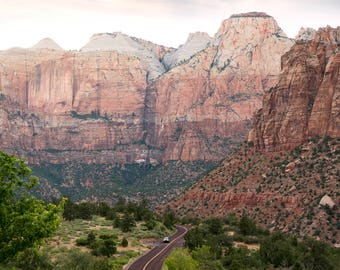 Zion Highway, Scenic Route, Mountain Landscape Highway, Fine Art Print