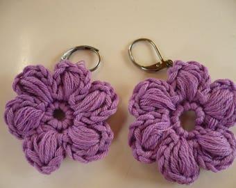 earrings, purple cotton crochet flower