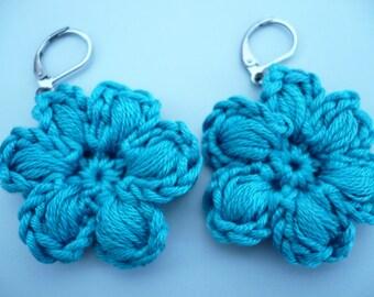 earrings, peacock blue cotton crochet flower
