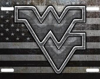 WV West Virginia Mountaineers Embossed Diamond Novelty Metal License Plate