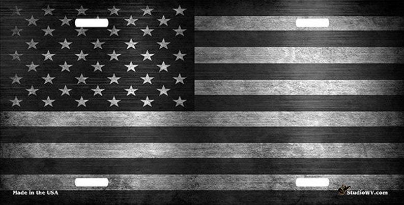American Flag Custom License Plate Black Bowtie Personalized License Plate Black /& Gray