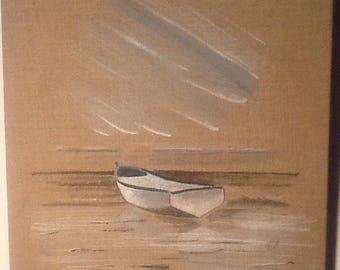 TABLE SHIP SEA ON LINEN CANVAS