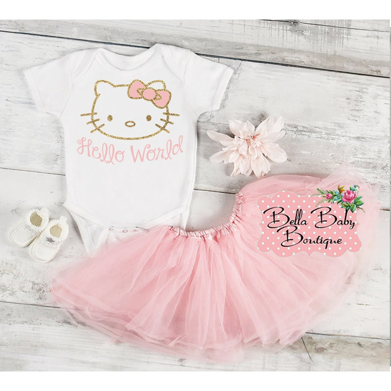 2a09f04bf Hello Kitty Baby Girl Tutu Take Home Outfit Pink and Gold | Etsy
