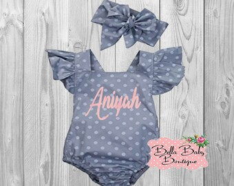 Baby Girl Personalized Polka Dot Grey Ruffled Romper