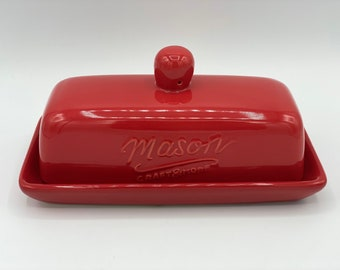 Red Butter Dish Etsy