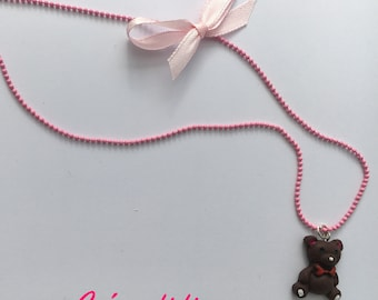 Teddy bear girl necklace