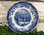 Vintage Winter Scene Plate Farmhouse Decor Wall Hanging French Display