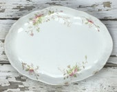 Vintage Scalloped Platter Oval Hanging Wall Decor Farmhouse Shabby Chic Serving Piece French Cottage Scalloped Platter Decor