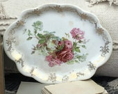 Vintage Large Platter Scalloped Ceramic Porcelain Large with Roses Farmhouse French Shabby Chic Beige Wall Hanging Decor Serving Dish
