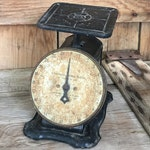 Vintage Columbia Scale Antique Black & Beige Kitchen Farmhouse Decor 24 lb scale Columbia Family Old Primitive Scale