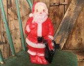 Vintage Santa Blow Mold Light, Small Santa Light, Vintage Christmas Decor, Farmhouse Cottage Traditional Christmas, Santa Claus Blowmold