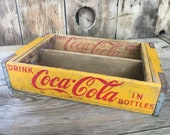 Vintage Coca Cola Crate Wood Storage & Organization Wooden Yellow Box Farmhouse Retro Wood Cubby Crate Decor