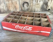 Vintage Wood Crate Coca Cola Original Wooden Box Storage & Organization Farmhouse Decor Red and White Americana Decor Retro Style Home Decor