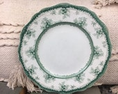 Vintage Floral Plate Scalloped Green & White Farmhouse French Decor Shabby Chic Style Wall Hanging Display