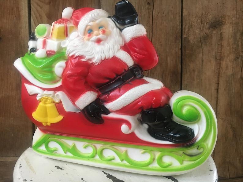 Vintage Santa Blow Mold Santa Claus Christmas Sled Light image 0