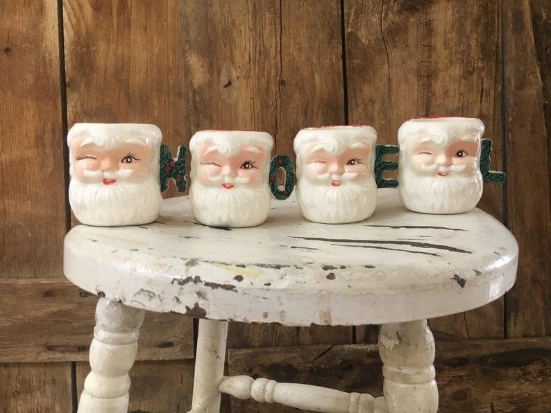 Vintage Santa Mugs Set of 4 Noel Santa Mugs Winking Santa image 0