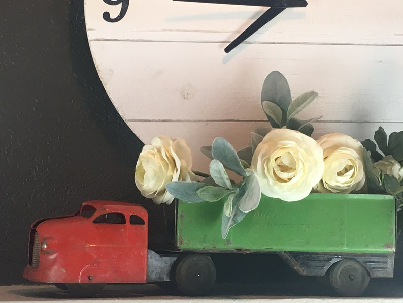 Vintage Red Truck Metal Farmhouse Decor Toy Dump Truck image 0
