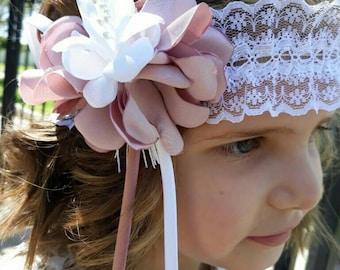 Headdress vintage pink stick and white