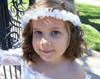 White Satin Flower Communion crown
