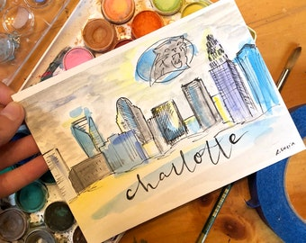 Charlotte city skyline / carolina panthers art / charlotte nc / charlotte christmas gift / present for dad / charlotte watercolor painting