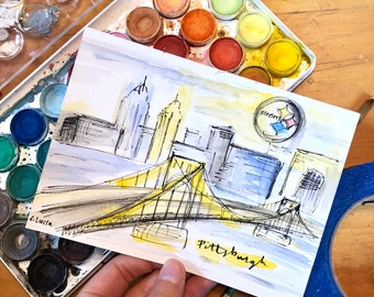 Pittsburgh painting / city of pittsburgh / watercolor painting of pittsburgh / mini sketch / pittsburgh christmas present / unique dad gift