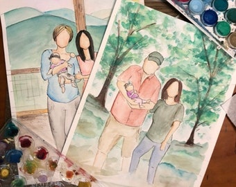 Custom watercolor portrait/ couple portrait / portrait with pets / anniversary present / newly wed present / wedding gift/ gift for parents