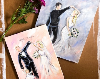 Faceless wedding portrait / dancing /acrylic / wedding bouquet / wedding song / wedding gift