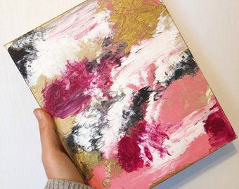 Pink and gold abstract painting / wall art / accent piece / statement piece / picture wall / drip painting / gold accent / home decor