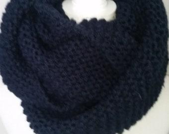 Echarpe laine tube-snood femme-Snood bleu navy en laine-blue navy  Scarf-Unisex scarves-Knit-scarves- scarf-Winter accessories- collar size 2cac7770f8d