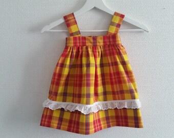 91faa735e5c Robe à bretelles madras -Robe madras-robe enfant-Robe bébé-Robe soleil