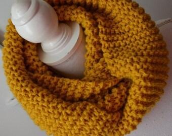 Echarpe laine tube-snood femme-Snood moutarde en laine-Mustard Scarf-Unisex  scarves-Knit-scarves- scarf-Winter accessoiries- collar size d4bed3169db