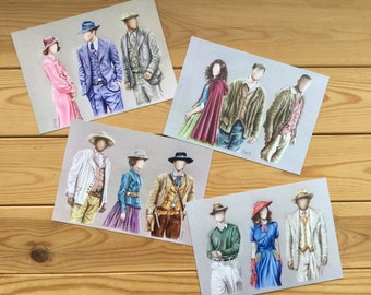 Set of 4 Postcards Celebrating the Costumes of Timeless
