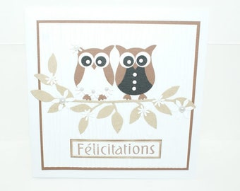 Congratulations card, handmade wedding, owls