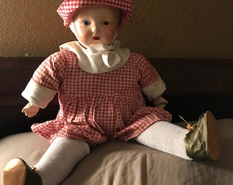 "Antique Composition Doll, Boy? 19"" Original Outfit"