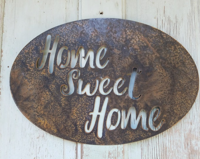 Metal Home Sweet Home Sign, Rustic Wall Decor, Housewarming Gift, Rusty Metal Sign, Custom Sign