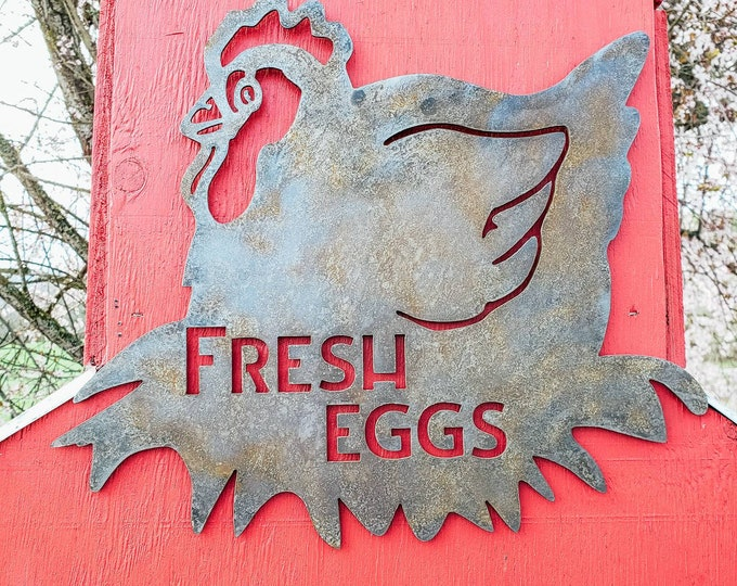 Fresh Eggs Metal Chicken Coop Sign