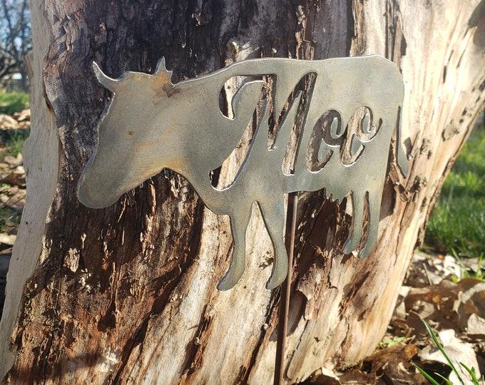 Metal Cow Garden Stake, Yard Stake