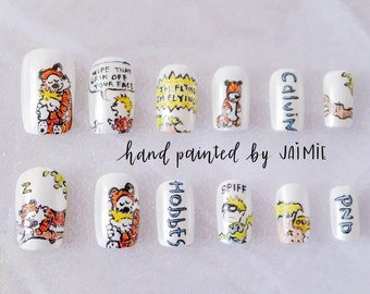Calvin and Hobbes, Tiger, Comic, Nail Set, Hand Painted False Nails