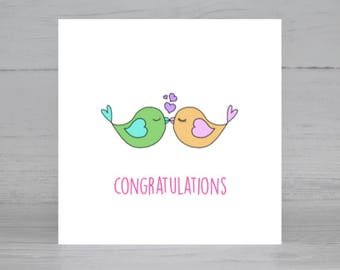 Engagement Card, Wedding Card, Lovebird Card, Valentine's Card, Congratulations