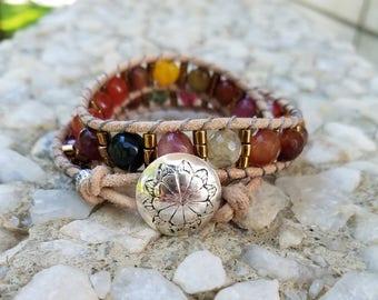 Desert Landscape Jasper and Carnelian Wrap Bracelet