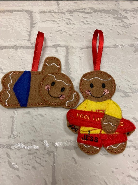 Swimming//swimmers gingerbread christmas decoration.Swimming teacher gift