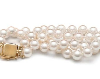 Double strand bracelet white Ayoka pearl